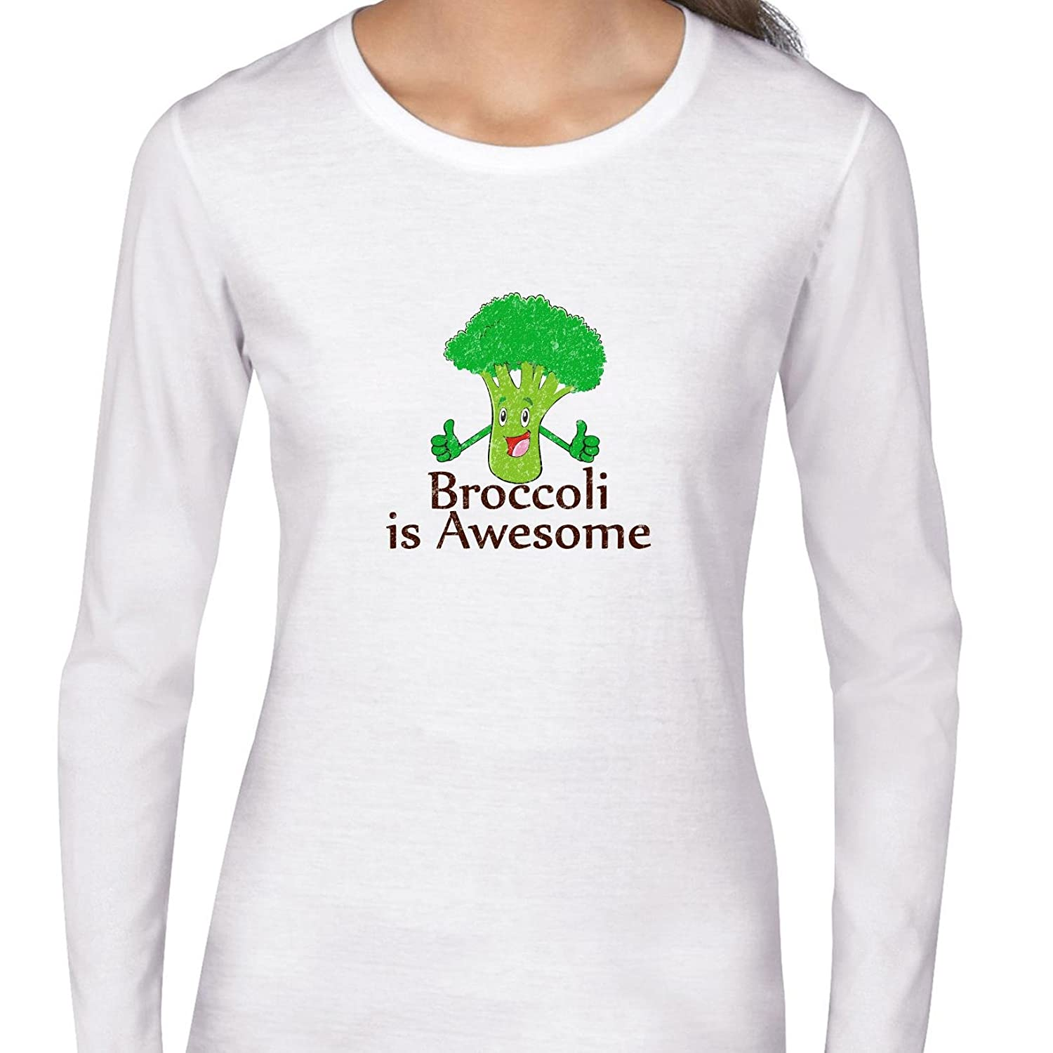 cb037db6 Amazon.com: Hollywood Thread Broccoli Is Awesome! - Thumbs Up Smiling  Vegetable Women's Long Sleeve T-Shirt: Clothing