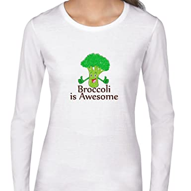82356444 Broccoli Is Awesome! - Thumbs Up Smiling Vegetable Women's Long Sleeve  T-Shirt