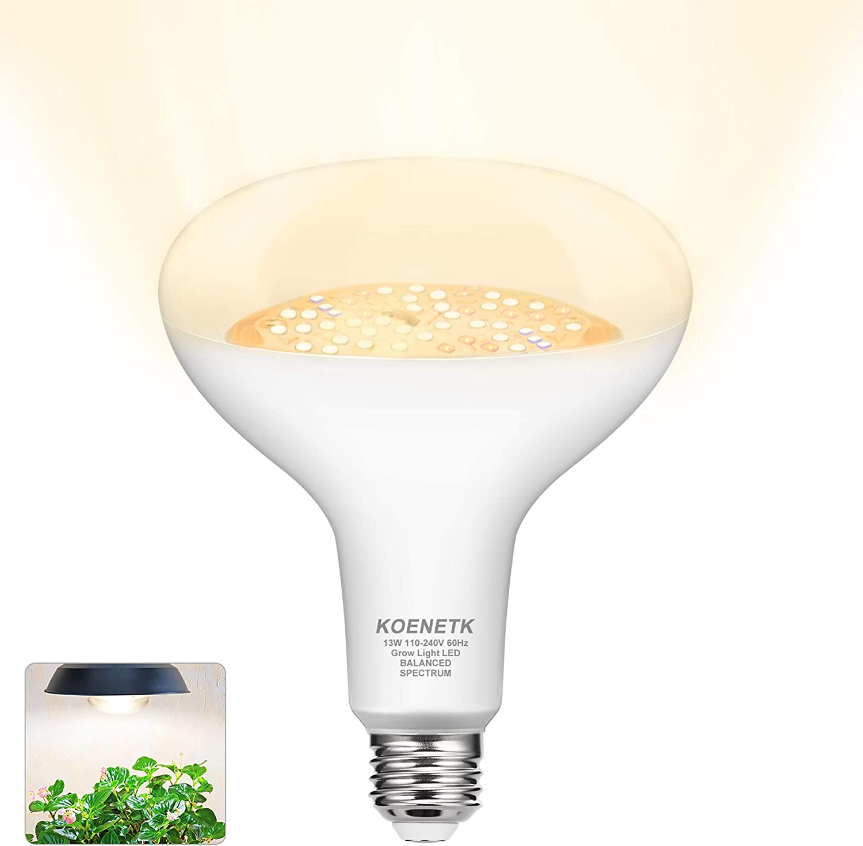 BR30 Grow Light Full Spectrum LED Bulb, KOENETK Indoor Plant LED Light Bulb for Seeds & Greens, E26 13W Daylight White Grow Lightbulb, Growing Lamp for Indoor Plants, Greenhouse, Garden, Hydroponic