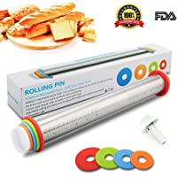 Adjustable Rolling Pin with Thickness Rings Guides - Rodillos de Acero Inoxidable de 17 pulgadas Rodillo de Masa Estilo Francés para Hornear Pasteles de Pizza y Galletas