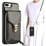 JLFCH iPhone 8 Plus Wallet Case, iPhone 7 Plus Zipper Wallet Case with Card Slot Holder Leather Handbag Buckle Detachable Wri