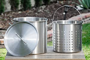 Barton 53 Quart Stock Pot w/Strainer Basket with Lid/Cover Boiling Deep Frying Stainless Steel Food-Grade-304 (53 Quart)