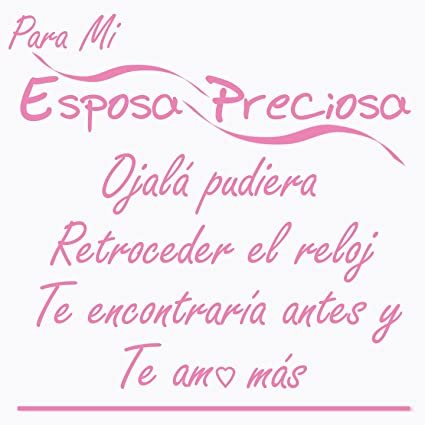 The Best Wife Wall Decal Pledge-Para Mi Esposa Preciosa-a SOFT PINK Vinyl