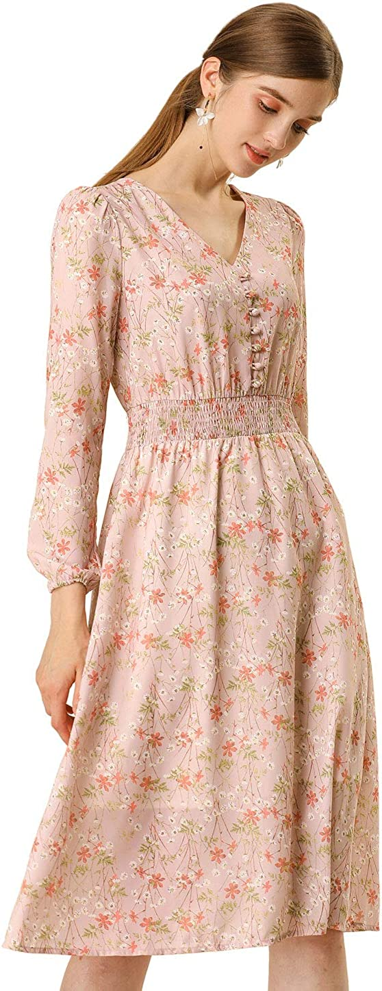 Allegra K Women's Floral Print Flowy V-Neck Midi Dress