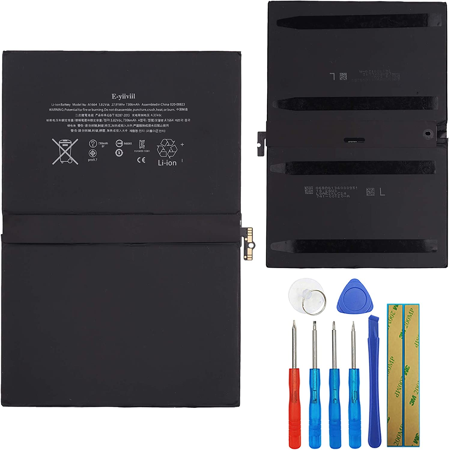 7306mAh Asesino Battery Compatible with iPad Pro 9.7 Models A1664 A1673 A1674 with Replacement Toolkit