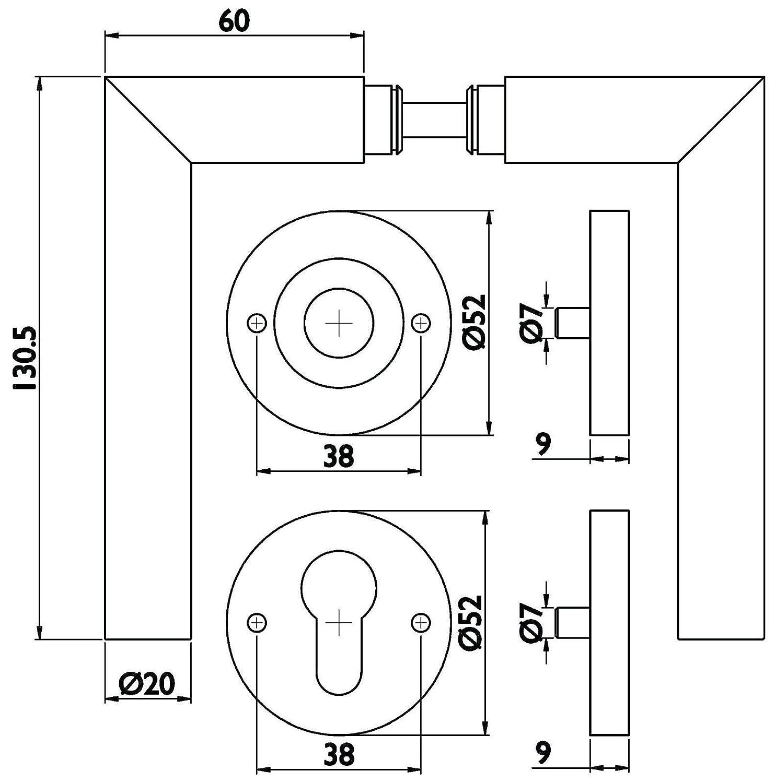 GedoTec/® BRANDSCHUTZ T/ürbeschlag T/ürgriff auf Kurzschild Edelstahl matt geb/ürstet Rosettengarnitur BASIC T/ürdr/ücker PZ Markenqualit/ät f/ür Ihren Wohnbereich FEUERSCHUTZ DIN 18273 Profilzylinder