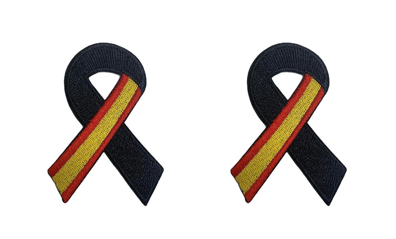Pack 2 Parches Termoadhesivo Lazo Negro Bandera de España 7x5cm ...