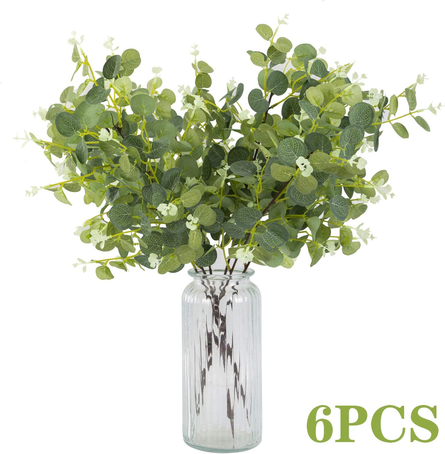 "23"" Artificial Greenery Eucalyptus Leaves Silk Plastic Plants Floral Greenery Stems for Home Party Wedding Decoration (6 PCS)"