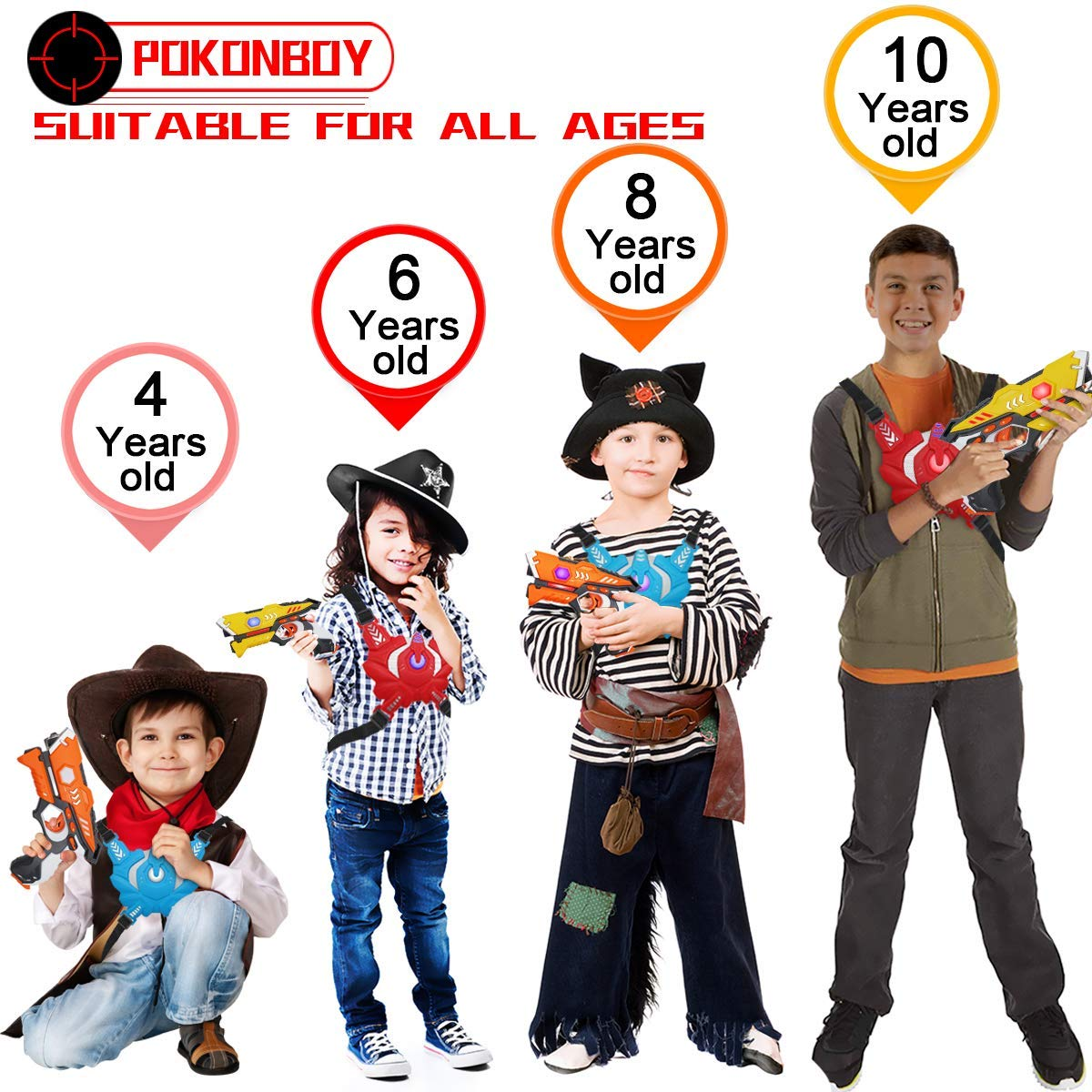 POKONBOY Toy Laser Tag for Kids - Laser Tag Sets with Gun and Vest Multiplayer Game for Kids Adults ( 4 Sets )   by POKONBOY (Image #2)