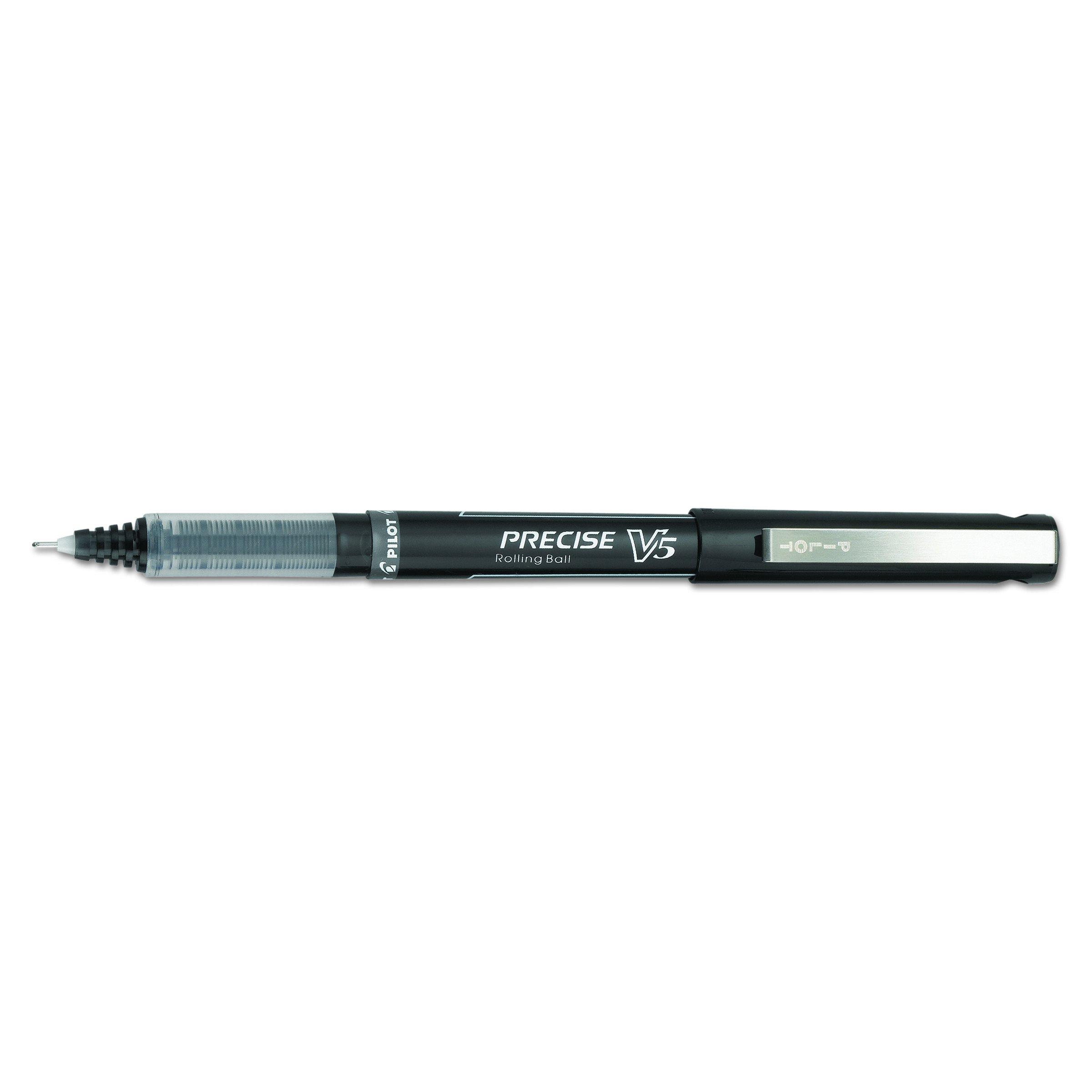 Pilot Precise V5 Roller Ball Stick Pen, Precision Point, Ink.5mm, Pack of 12, Black (35334) by Pilot