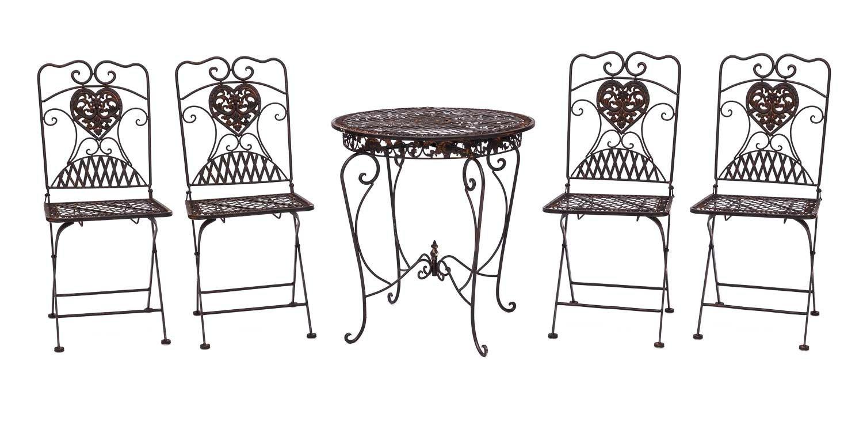 Gartentisch und 4 Stühle Eisen Bistromöbel Antik-Stil Tisch ...