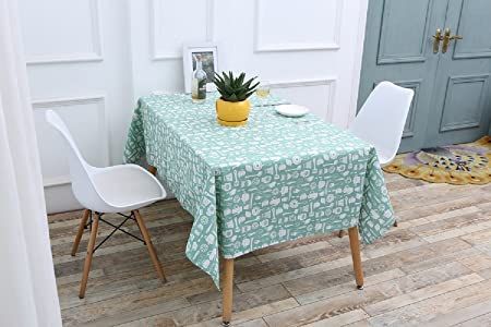 Topmail Rectangle Lovely Dining Tablecloth Blue Green Long Cotton Linen Party Table Cloth Cover For