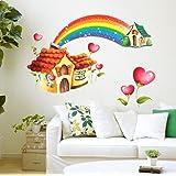 Decals Design 'Cartoon Hut with Rainbow' Wall Sticker (PVC Vinyl, 70 cm x 50 cm),Multicolour
