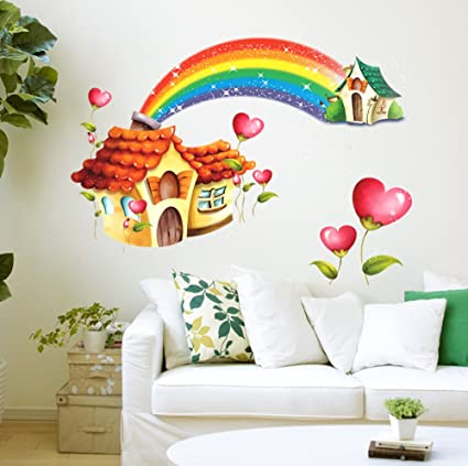 StickersKart Wall Stickers Nursery Room Cartoon Hut with Rainbow for Kids  Baby Room Design (Wall f705e58f05
