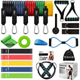 TAIMASI 19PCS Resistance Bands Set Workout Bands, 5 Stackable Exercise Bands with Handles, 5 Resistance Loop Bands…