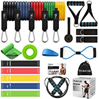 TAIMASI 23PCS Resistance Bands Set Workout Bands, 5 Stackable Exercise Bands with Handles, 5 Resistance Loop Bands, Jump Rope, Figure 8 Resistance Band, Headband, Cooling Towel