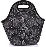 Neoprene Lunch Bag,Vaschy Big Girls' Neoprene Insulated Lunch Container One Size Paisley clover