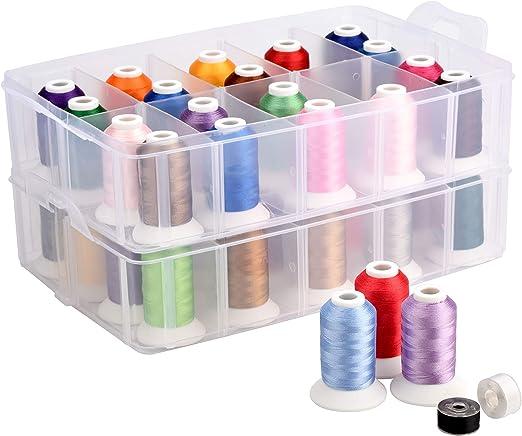 Simthread, kit de hilo para máquina de bordar con organizador de caja de almacenamiento, 40 colores Brother 550 yardas/bobina: Amazon.es: Hogar