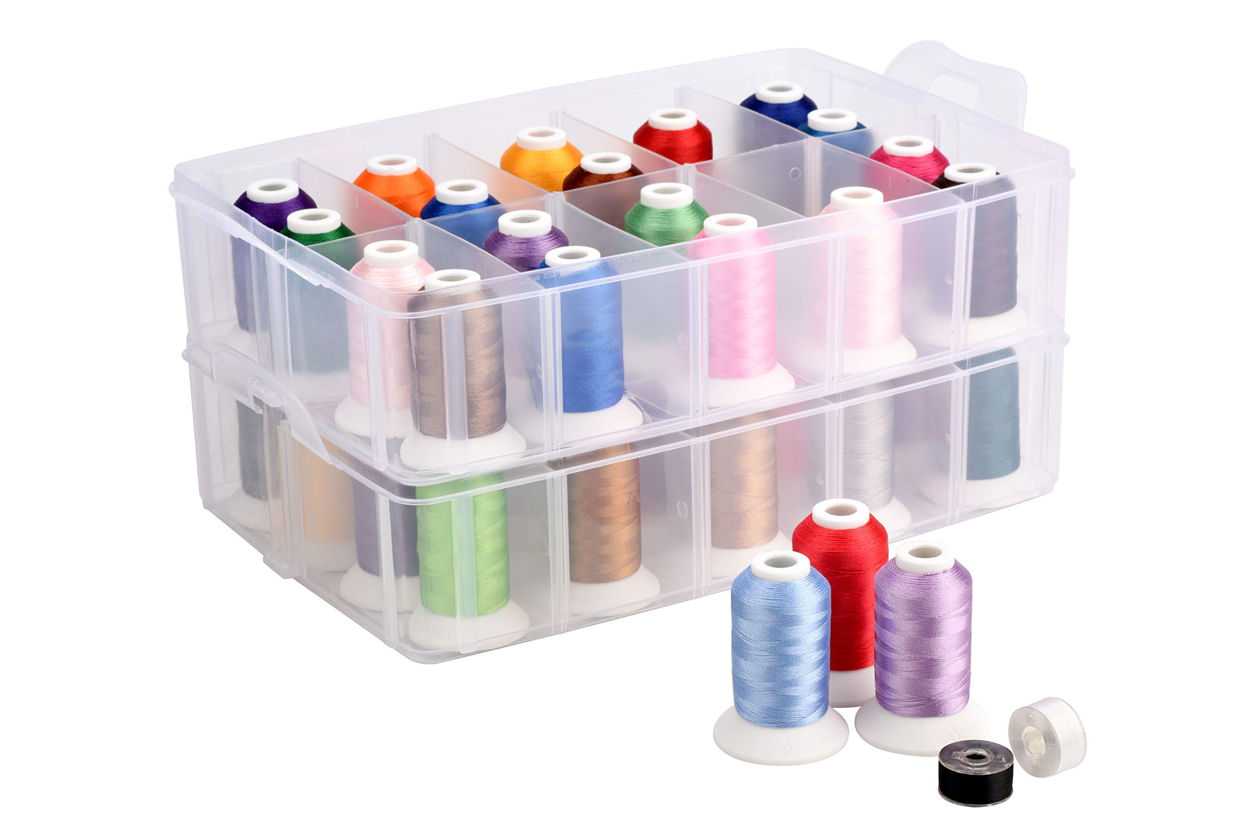 Polyester Embroidery Machine Thread 40 Colors (40C with Storage Box) by Sinbel