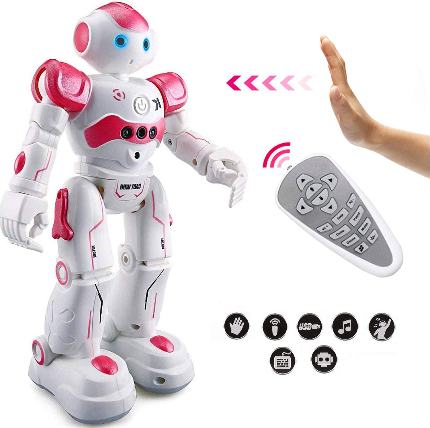 Eholder RC Smart Robot Toy for Kids Gesture Sensing Dancing Walking Remote Control Robot Intelligent Programmable Educational RC Robot Robotics Toys Gift for 5 - 10 Year Old Girls Pink Robots
