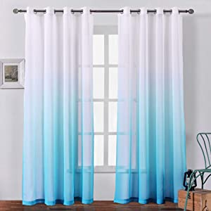 Bermino Faux Linen Sheer Curtains Voile Grommet Ombre Semi Sheer Curtains for Bedroom Living Room Set of 2 Curtain Panels 54 x 84 inch Sky Blue Gradient