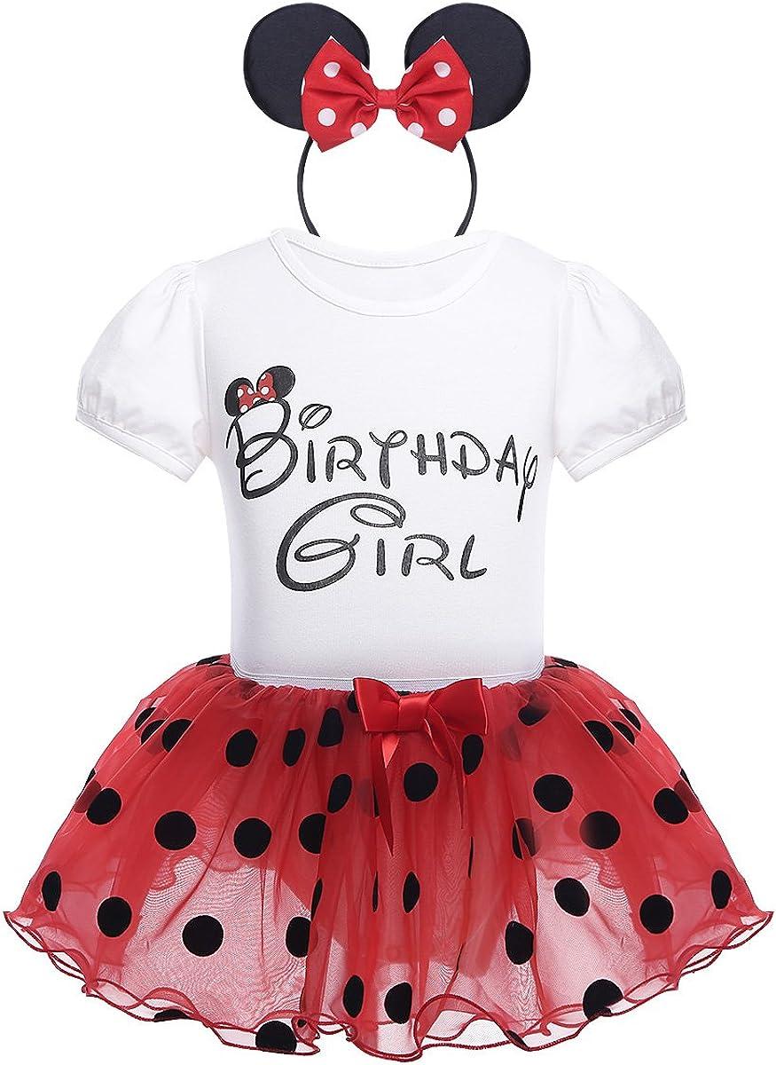 iiniim Conjunto de Disfraz Body de Algodón + Falda + Diadema Vestido Princesa Lunares Tutú de Organza Cumpleaños Fiesta Disfraces Navidad Cosplay para Bebé Niña (1-4 Años)