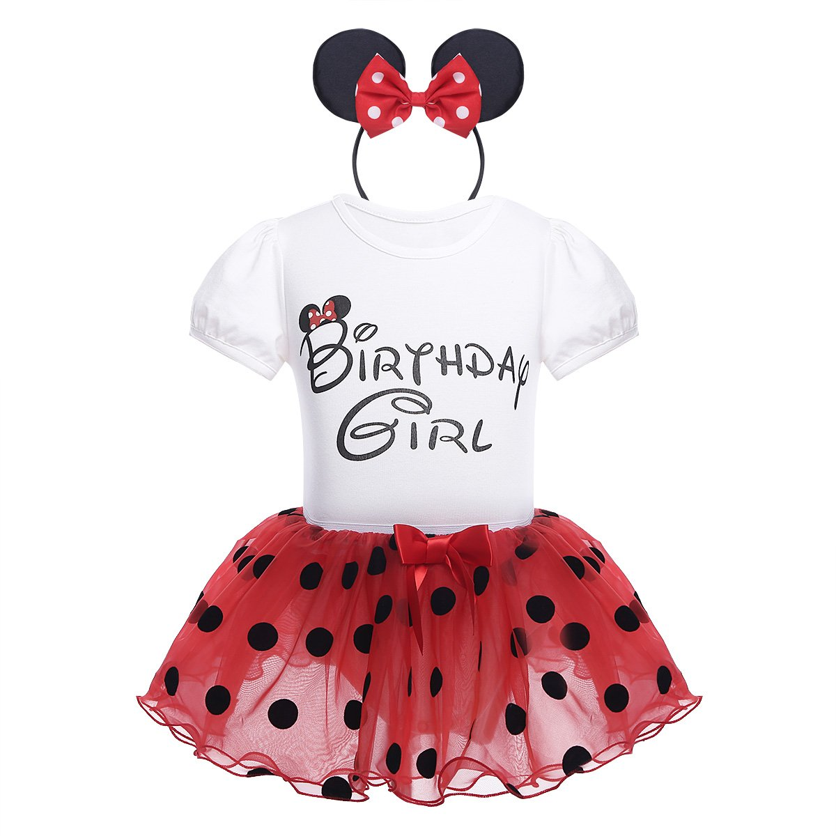 CHICTRY Baby Girls Kids Birthday Party Outfit Cartoon Cosplay Short Sleeve Romper with Tutu Skirt Headband Set