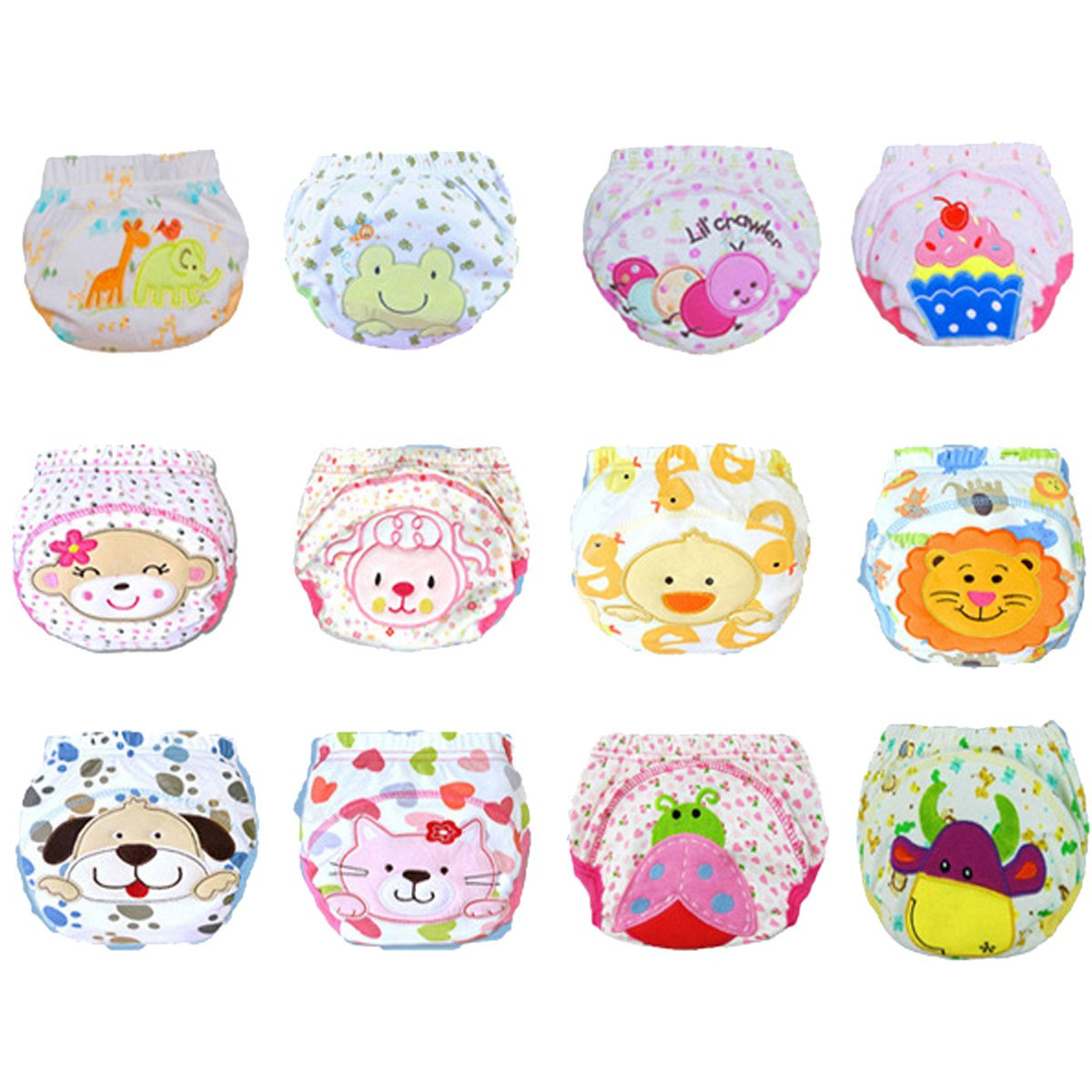 Aubig 12 Pcs Baby Boys Girls Toddler Toilet Pee Potty Training Pants Cartton Underwear Size S
