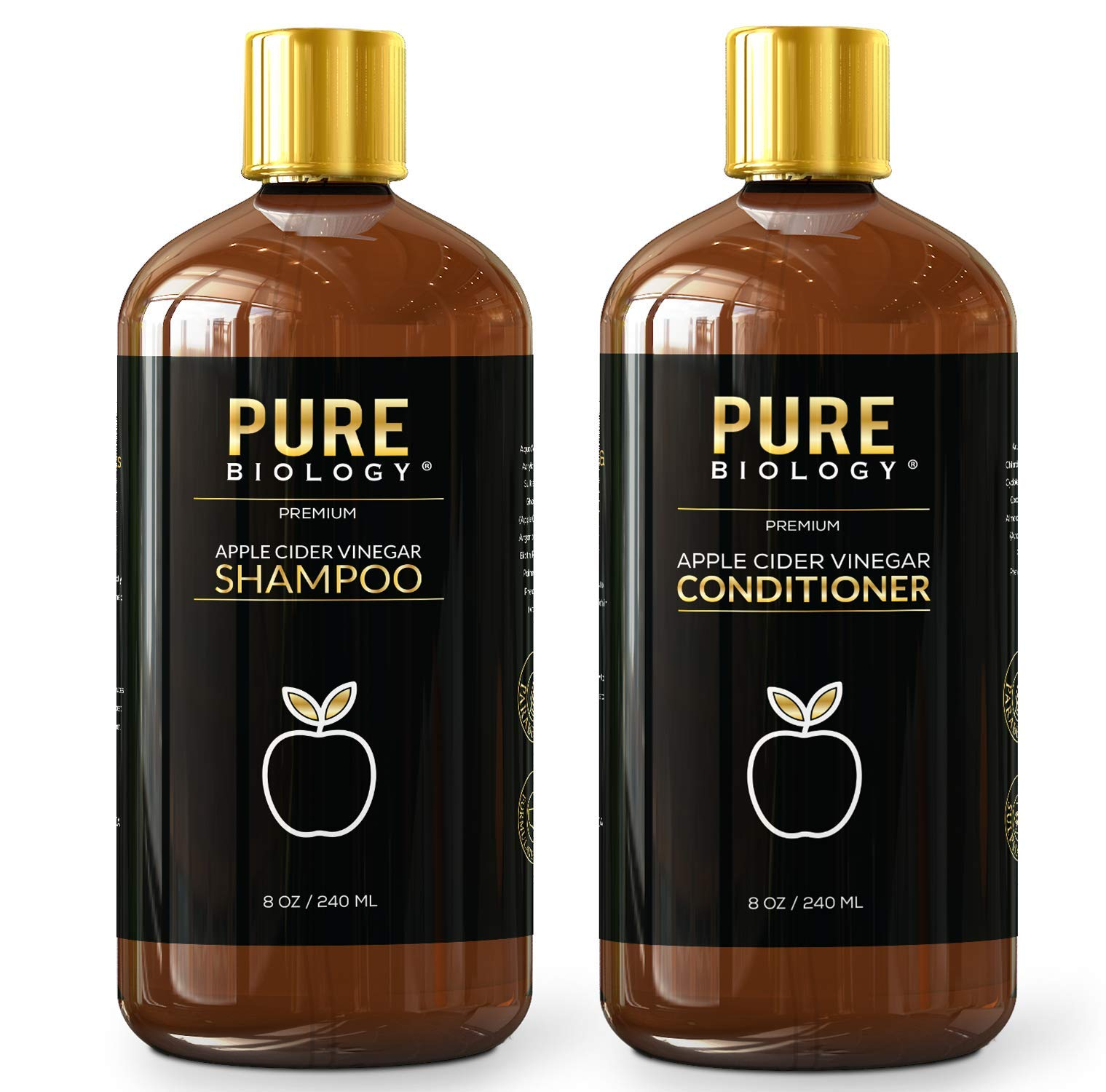 Pure Biology Premium Apple Cider Vinegar Shampoo & Conditioner Set to Increase Hair Growth, Shine, Hydration & Reduce Dry, Itchy Scalp, Dandruff & Frizz for Men & Women, Sulfate Free by Pure Biology