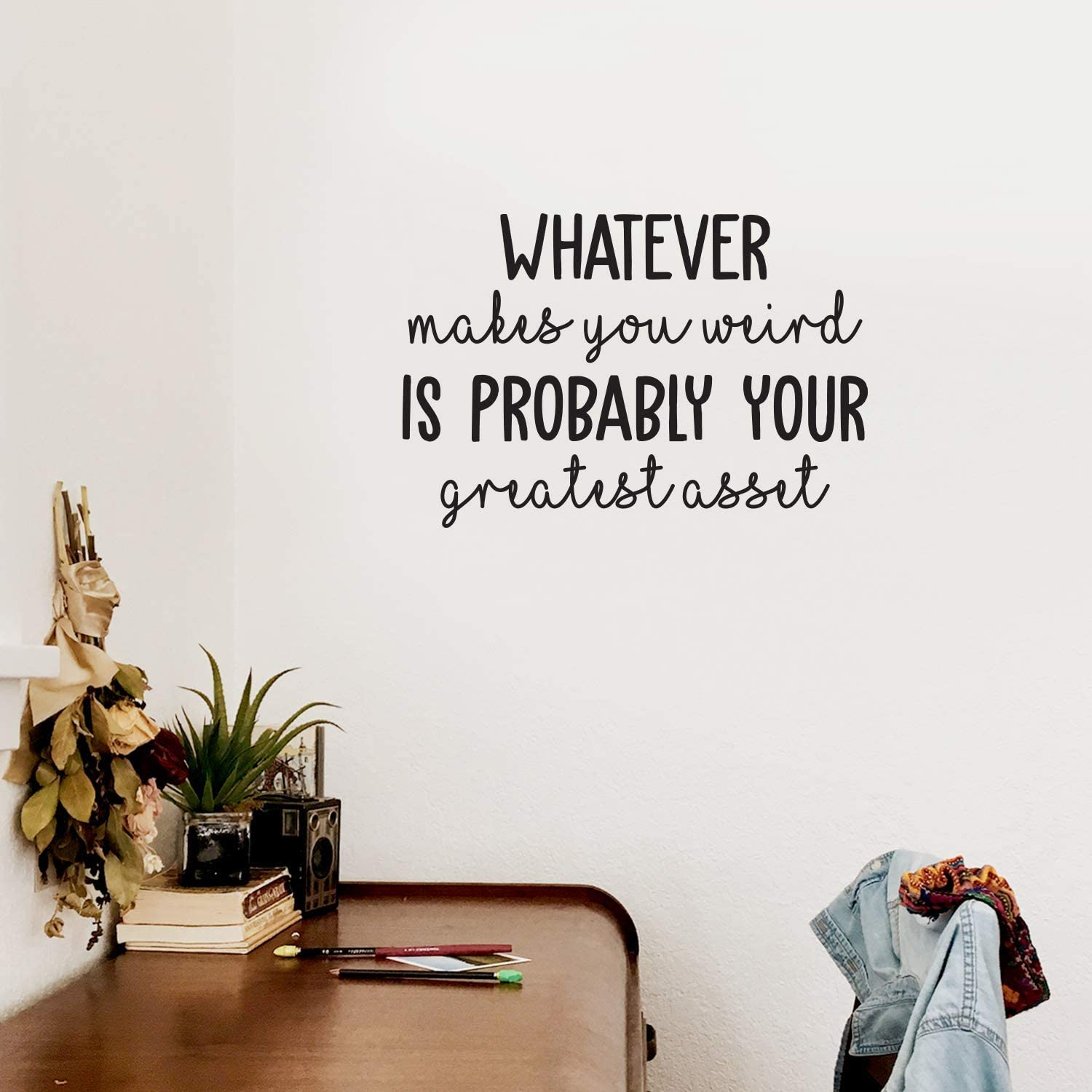 """Vinyl Wall Art Decal - Whatever Makes You Weird - 17"""" x 25"""" - Trendy Cursive Funny Inspirational Quote for Home Apartment Bedroom Living Room Office Workplace School Decoration Sticker"""