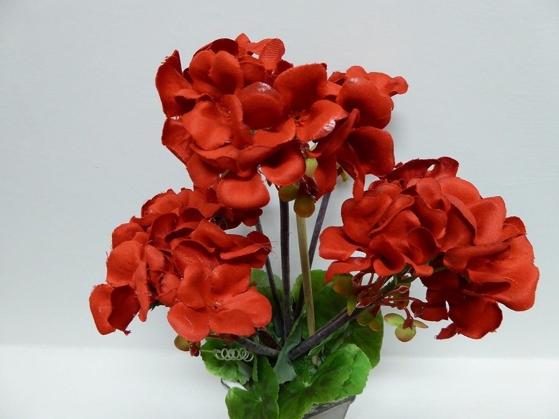 /planta artificial en maceta rojo geranio flores en Shabby Chic gris moderno Pot /30/cm/ UK-Gardens/
