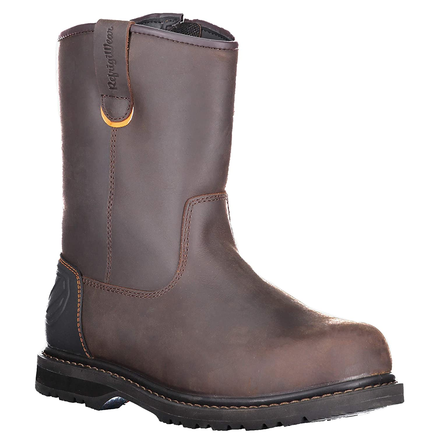 RefrigiWear Mens Barrier Lightweight Insulated 9-Inch Brown Leather Work Boots