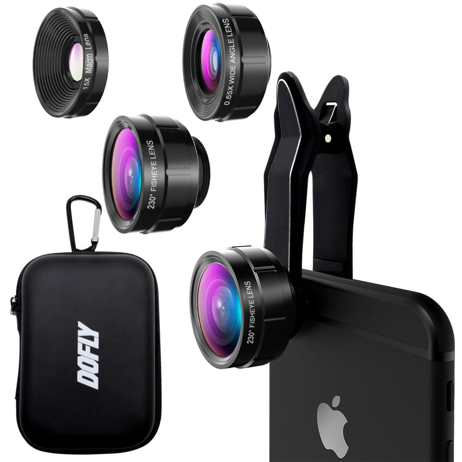 DOFLY Universal Professional HD Camera Lens Kit for iPhone X/8/7Plus/7/6sPlus/6s, Samsung S8+/S8 and other Cellphones (230 Degree Fisheye Lens, 0.65X Super Wide Angle Lens, 15X Super Macro Lens)-Black by DOFLY (Image #1)