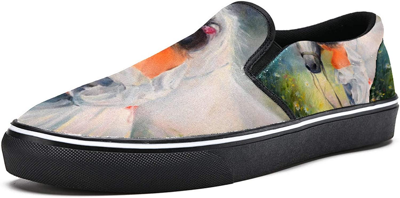 Anmarco Chica con caballo blanco en flor tierra pintura resbalón en zapatos mocasines para mujer niña moda lona plana barco zapato