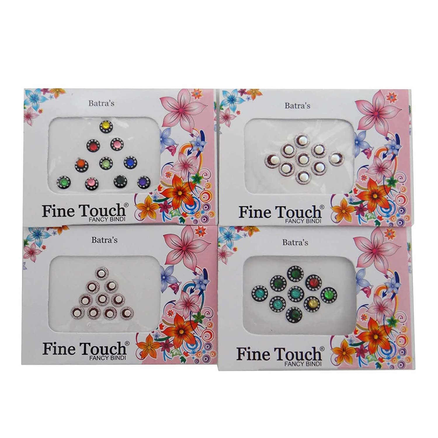 Pack Of 4 Multicolor Bindi Self Adhesive Forehead Sticker Accessory Gift Ibacrafts