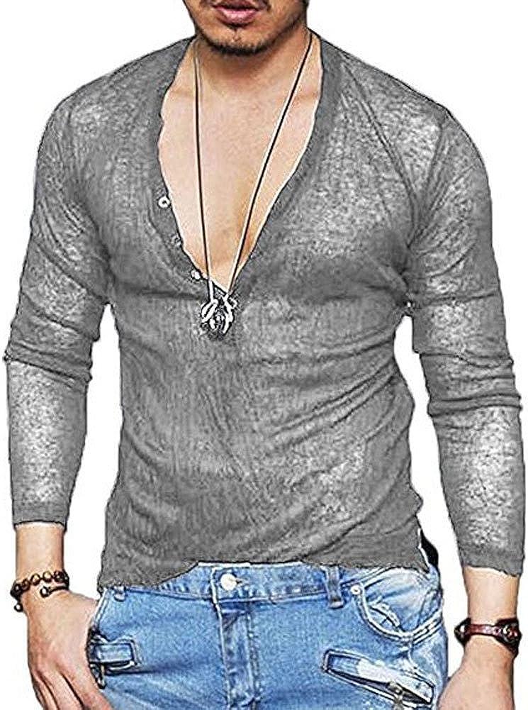 CHIYEEE T Shirt Estate Casuale Manica Lunga Maglietta da Uomo