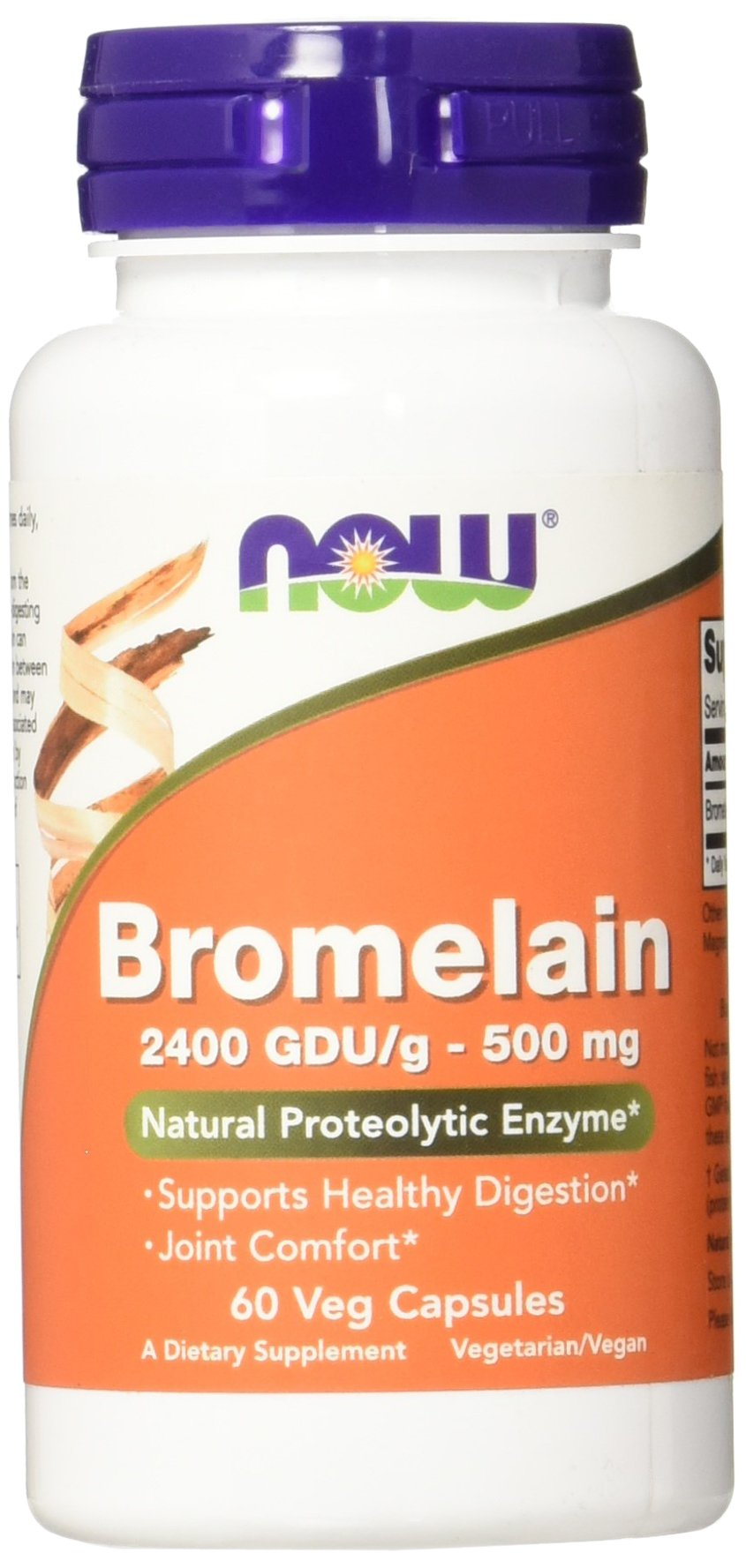NOW Bromelain 2400 GDU, 500mg, 60 Veg Capsules
