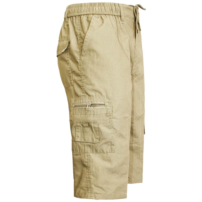 MENS SHORTS ELASTICATED CARGO COMBAT POCKETS POLY COTTON SUMMER PANTS 3//4 LENGTH
