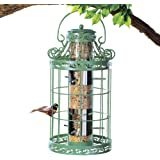 """Collections Etc Springtime Hanging Bird Feeder, Vintage French Country-Inspired Green Design, 7 3/4"""" L x 7 3/4"""" W x 16 1…"""