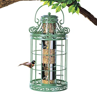Collections Etc Springtime Hanging Bird Feeder, Vintage French Country-Inspired Green Design, 7 3/4  L x 7 3/4  W x 16 1/2  H, Green