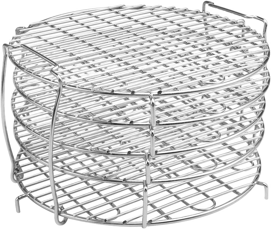 M V VOIMAKAS Dehydrator Rack for Air Fryer 6.5 & 8 qt, 304 Stainless Steel Dehydrator Stand Five Stackable Layers Grill Racks Accesories