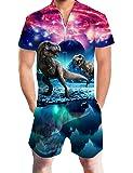 uideazone Men's 3D Dinosaur Print Shorts Jumpsuit Pants Summer Casual Romper Overalls,Dinosaur,XX-Large