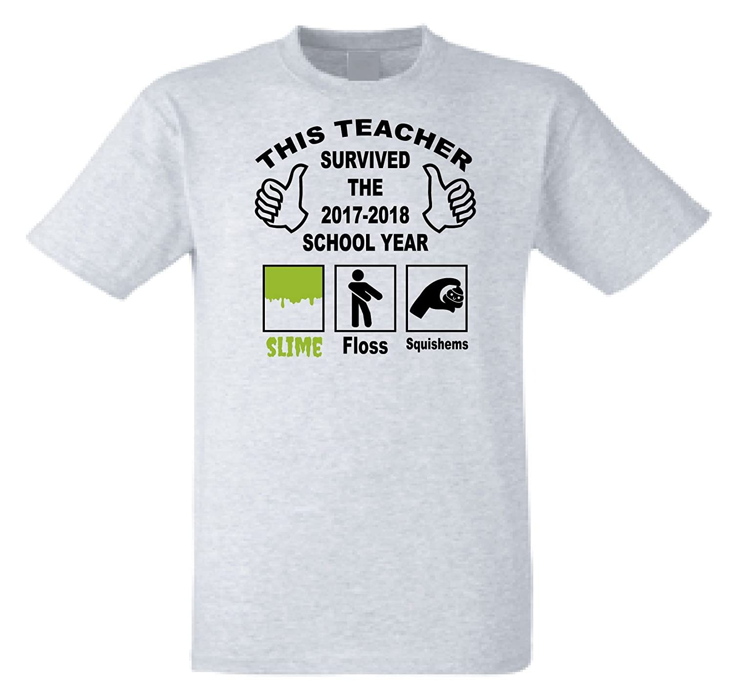 8a03e8aa7 SHOEBOB This Teacher Survived The 2017 2018 School Year Slime Floss Squish T -Shirt QD3: Amazon.co.uk: Clothing