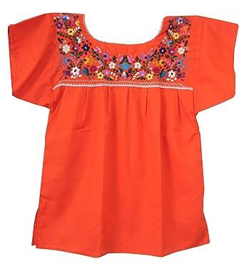 275974d82fcc0b Amazon.com  Mexican Peasant Puebla Blouse XXL (Orange)  Clothing