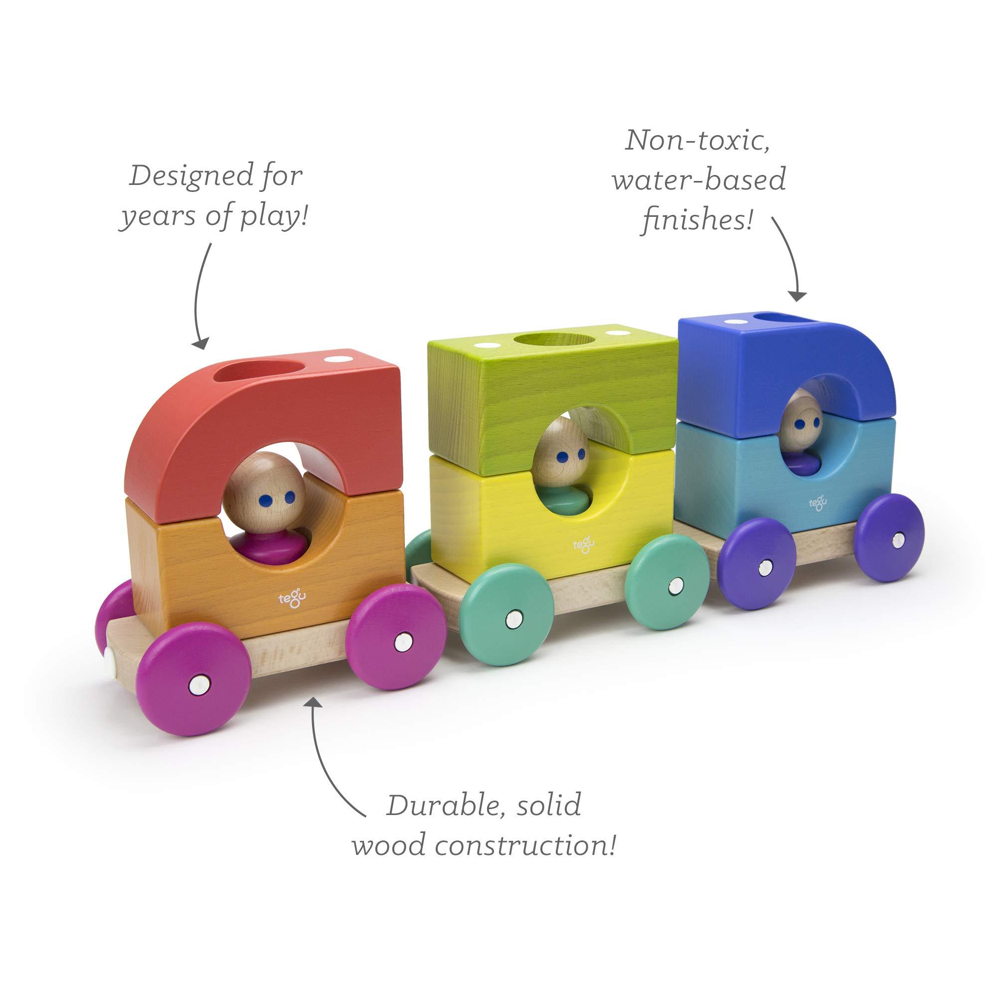 12 Piece Tegu Magnetic Tram Building Block Set, Rainbow