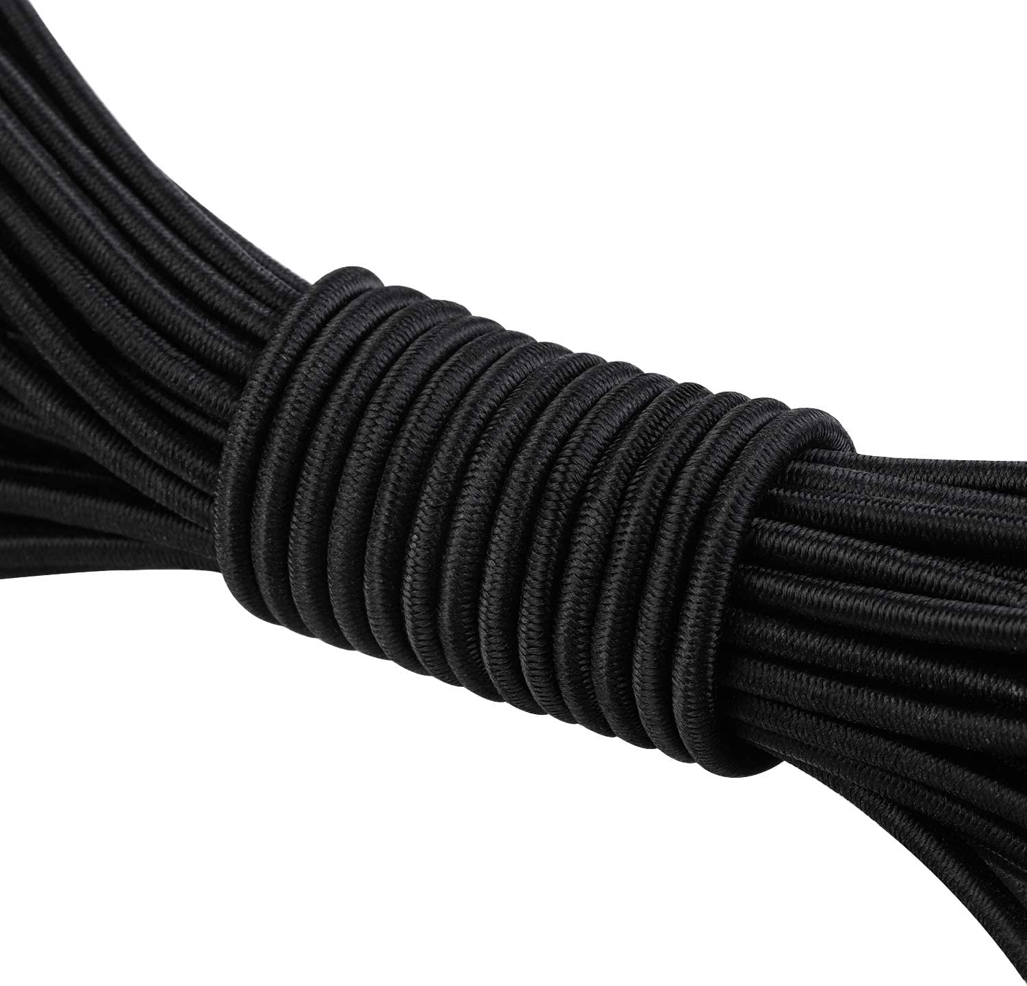 Aodaer Bungee Shock Cords Elastic Band Nylon Cords Heavy Stretchy String Rope for Marine Kayak Tie Down Trailer Strap or DIY Applications 1//4 inch x 12 feet, black