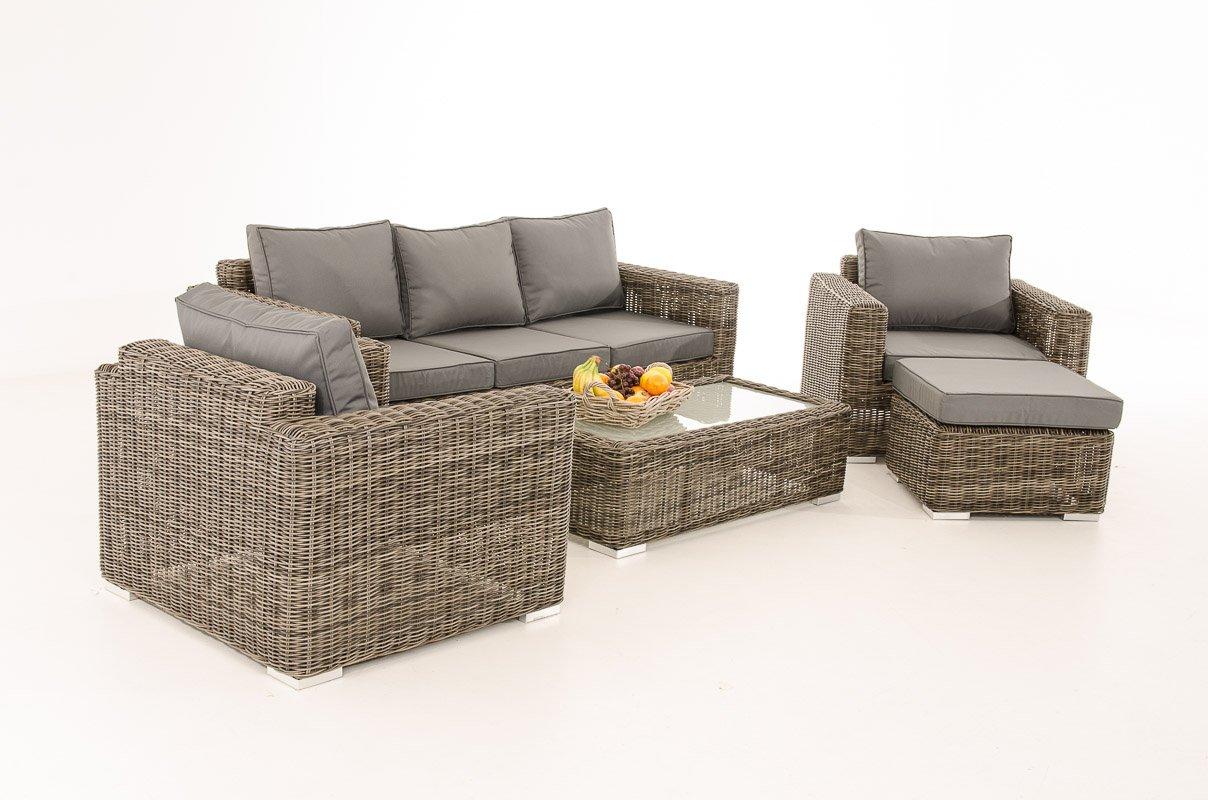 Mendler 3-1-1 Gartengarnitur CP053 Sitzgruppe Lounge-Garnitur Poly-Rattan ~ Kissen eisengrau, grau-meliert
