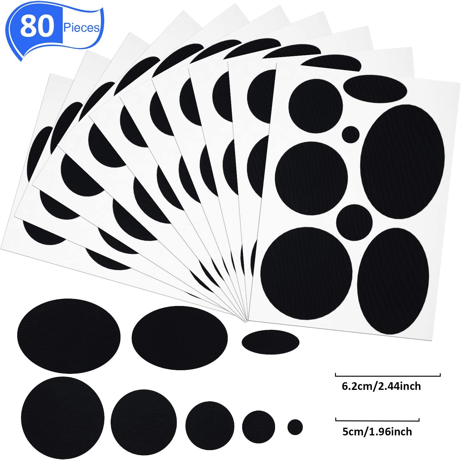 80 Pieces Black Down Jacket Patches Nylon Repair Tape Self-Adhesive Repair Patch with 8 Sizes for Jacket Tent Outerwear Repair, Round and Oval Shape