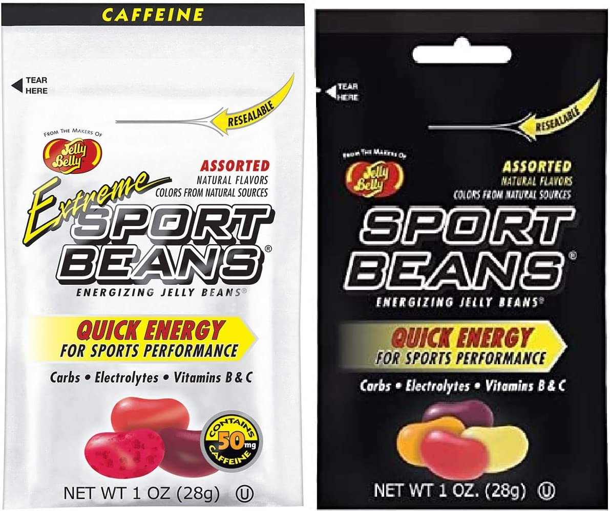 Jelly Belly Sport Beans - Assorted and Extreme Assorted with Caffeine – Energy Chews [24 Pack] Energizing Jelly Beans Box - Click for More Sizes