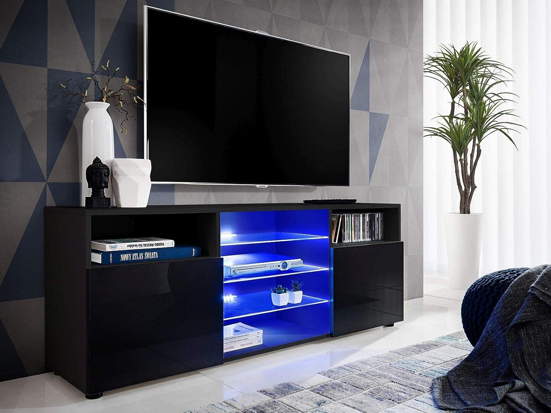ExtremeFurniture T38 TV Cabinet White LEDs Carcass in Black Matt//Front in Carbon Wood Matt